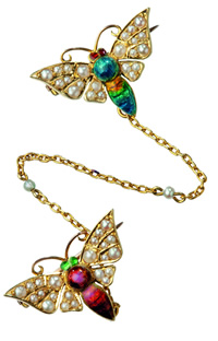 5 carat gold enamelled butterfly brooches