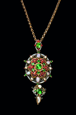 gold Holbeinesque emerald, enamel and multi-gem set pendant, c1870, £8,850 from T Robert
