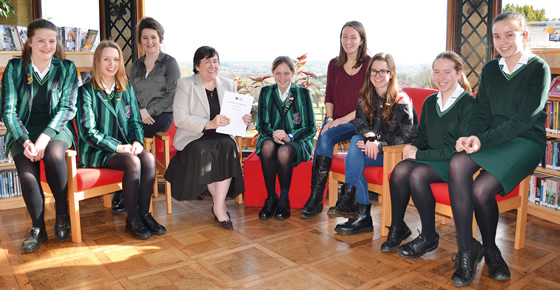 Headmistress Mrs Sarah Buckle with Farnborough Hill Pupils