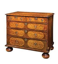 William & Mary 'Arabesque' seaweed marquetry walnut chest of drawers, c1680-90, £15,500 from Walton House Antiques