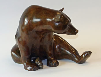 'Seated Bear' bronze, edition of twelve, £6,850 from Jonathan Knight Sculpture